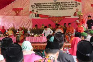 Saat Bupati Devinitif Kabupaten Bolsel Iskandar Kamaru saat memberikan Sambutan dalam acara pemberian gelar adat oleh etnis suku gorontalo