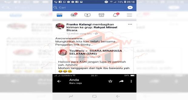 Cuwitan salah satu akun FB di Group Suara Minahasa Selatan (SMS) terkait perintah Bupati di Group Whastapp