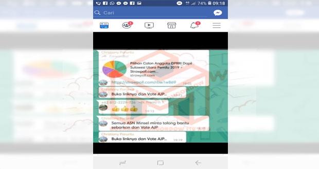 Gambar ScrenShot hasil percakapan bupati CEP dengan para ASNnya di salah satu Group