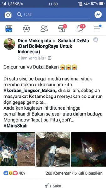 Cuwitan akun fb Dion Mokoginta di group sahabat demo