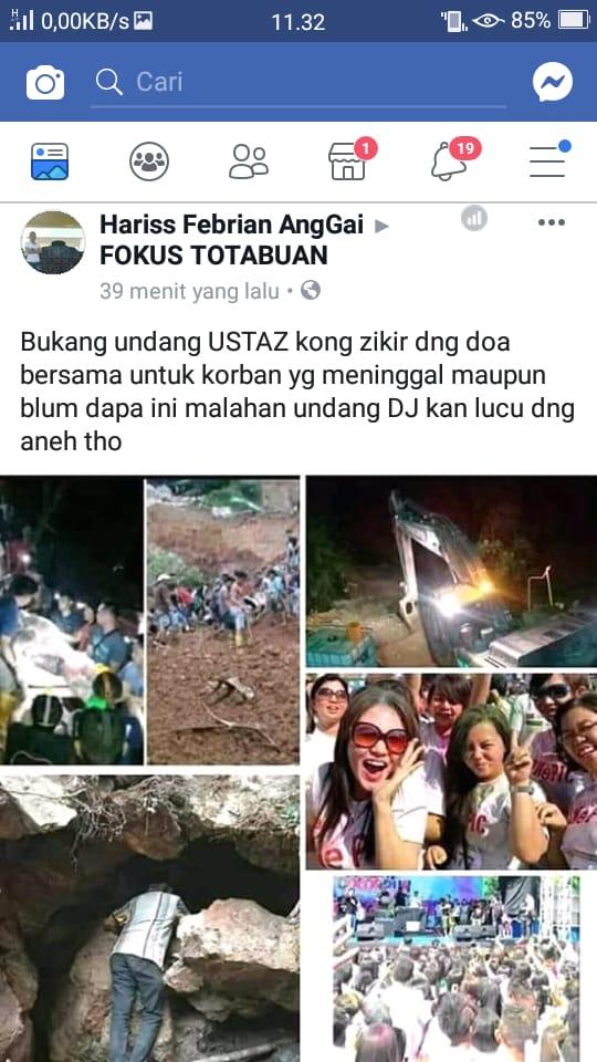 Cuwitan akun fb Haris Febrian AngGai di group Fokus Totabuan