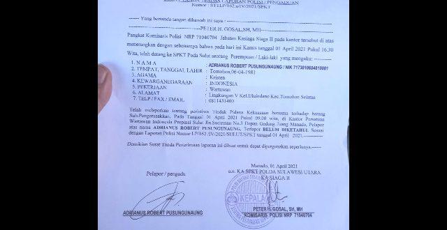 Pengrusakan Balai Kantor PWI Sulut Resmi Dilaporkan ke-Pihak Kepolisian