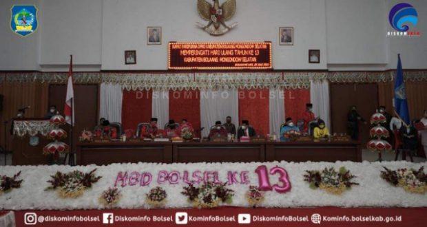 DPRD Gelar Rapat Paripurna Istimewa Peringatan HUT Kabupaten Bolaang Mongondow Selatan ke- 13 Tahun